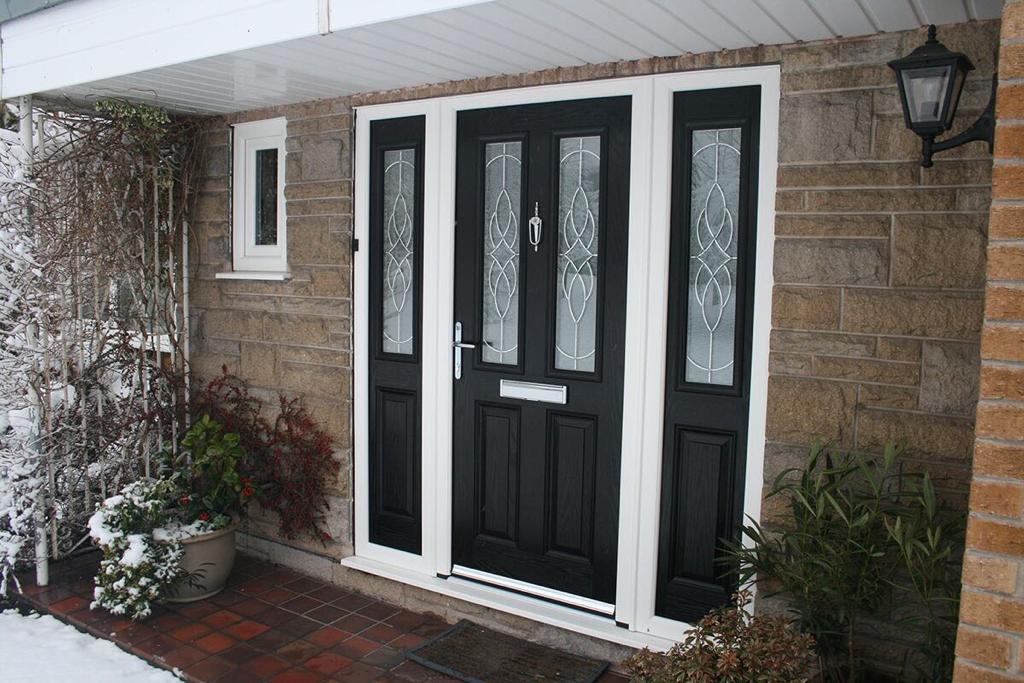 Black front door with windows